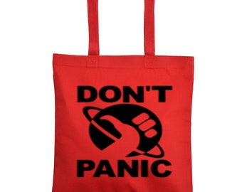 Hitchhiker's Guide to the Galaxy Don't Panic Canvas Tote Bag Market Pouch Grocery Reusable Halloween Merch Massacre Black Friday Christmas