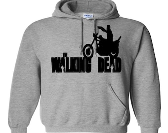 Daryl Dixon Motorcycle Walking Dead Unisex Hoodie Pullover Hooded Sweatshirt Many Sizes Colors Custom Horror Halloween Merch Massacre