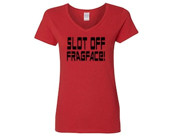 Shadowrun Funny Slot Off Frag Face RPG Nerdy Sci Fi Fantasy Ladies V Neck T Shirt Clothes Many Sizes Colors Custom Horror Merch Massacre