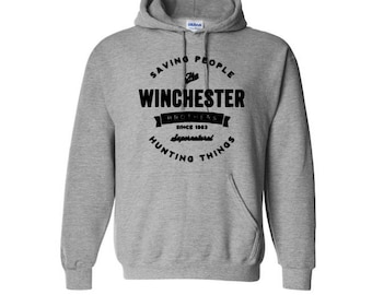 Supernatural Winchester Brothers Sam Dean Unisex Hoodie Pullover Hooded Sweatshirt Many Sizes Colors Custom Horror Halloween Merch Massacre