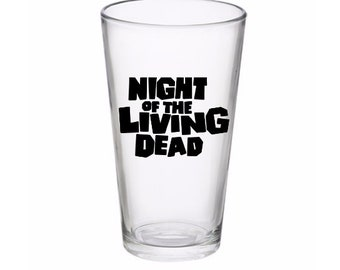 Night of the Living Dead Zombie Drinking Horror Pint Wine Glass Tumbler Alcohol Drink Cup Barware Halloween Scary Merch Massacre
