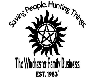 Supernatural Winchester Saving People Logo Vinyl Car Decal Bumper Window Sticker Any Color Multiple Sizes Custom