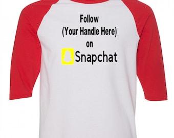Social Media Snapchat Follow # Hashtag @ Instagram Twitter Funny Comedy Baseball Raglan 3/4 Sleeve T Shirt Unisex Clothes Merch Massacre