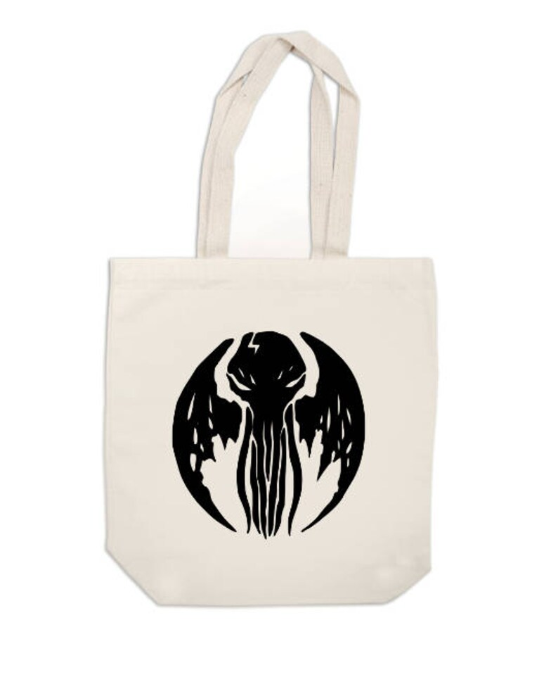 Cthulhu HP Lovecraft Elder Sign Horror Canvas Tote Bag Market Pouch Grocery Reusable Merch Massacre Black Friday Christmas