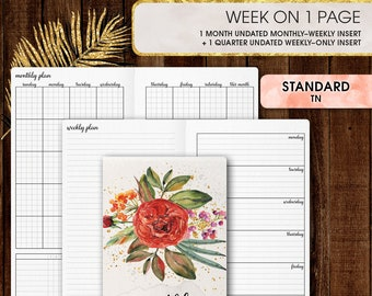 Standard TN inserts | WEEKLY planner printable, week on one page (standard tn, standard, travelers notebook, regular tn inserts)