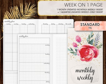 Standard TN inserts | WEEKLY planner printable, week on one page (standard tn, standard, travelers notebook, regular tn inserts)