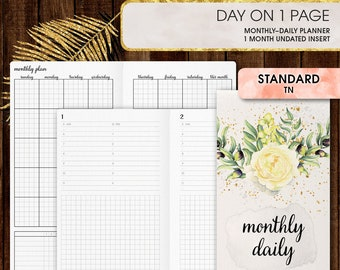 Standard TN inserts | DAILY planner printable, day on one page (standard tn, standard, travelers notebook, regular tn inserts)
