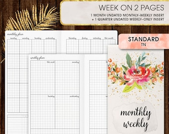 Standard TN inserts | WEEKLY planner printable, week on two pages (standard tn, standard, travelers notebook, regular tn inserts)