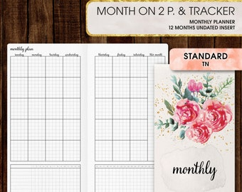 Standard TN inserts | Monthly planner, monthly calendar printable(standard tn, standard, travelers notebook, regular tn inserts)