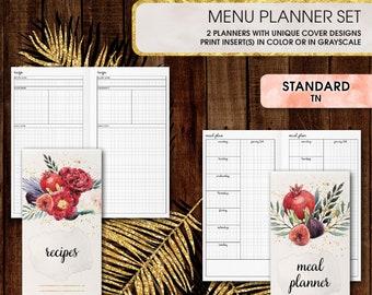Standard TN inserts | Menu planner: meal plan, recipes (standard tn, standard, travelers notebook, regular tn inserts)