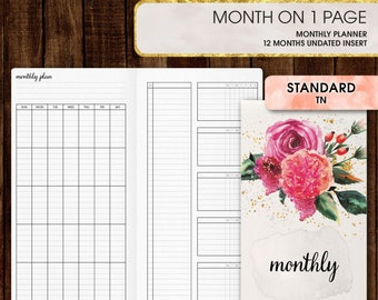 Standard TN inserts | Monthly planner, monthly calendar printable (standard tn, standard, travelers notebook, regular tn inserts)