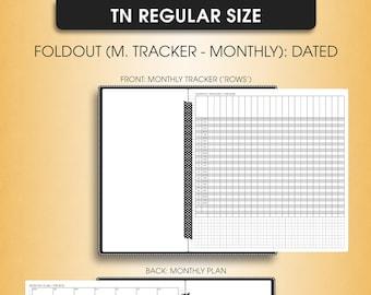 Standard TN inserts | Foldout MONTHLY planner 2018 (standard tn, standard, travelers notebook, regular tn inserts)