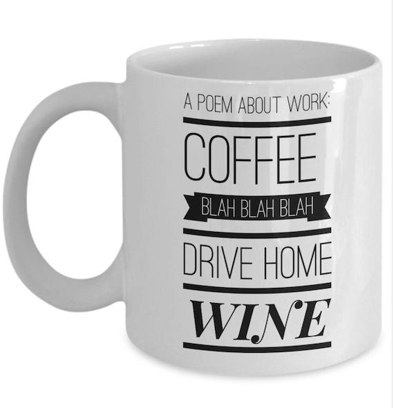 Kawa Bla Bla Dysk Wina Pracy Domu śmieszne Kubek Wiersz O Pracy śmieszne Kubek Kawy