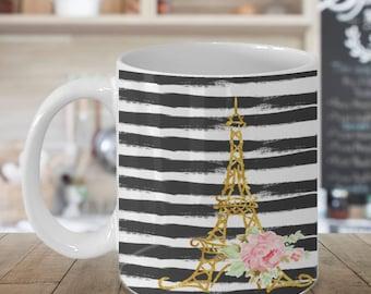 Black and White French Inspired Gift Mug for Paris Lovers, Gift for her Coffee Mug, Eiffel tower mug