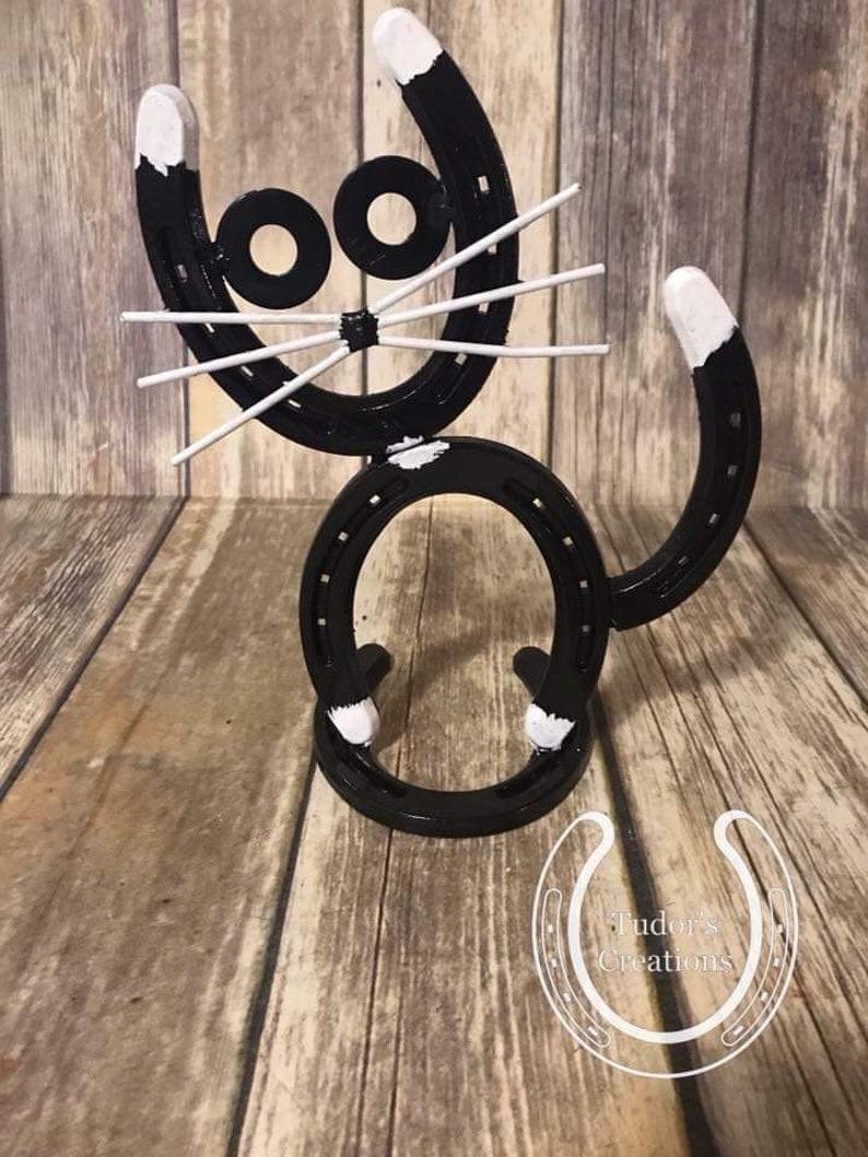 90b3bfb1 Horseshoe Cat Horseshoe Decor Horseshoe Art Home Decor Unique Gift Cat  Lover Kitty Pet Farmhouse Rustic