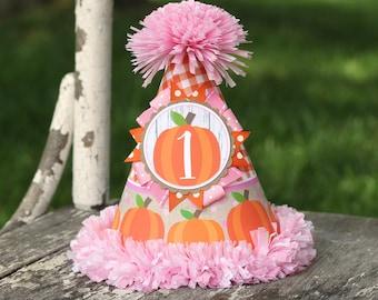 Pumpkin Girl Birthday Party Hat  - Pumpkin Patch Fall First Birthday Party Hat -  Little Pumpkin First Birthday - Orange & Pink