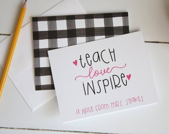 Personalized Teacher Notecards, Buffalo Plaid Stationery for Teachers, Personalized Christmas Gift, Set of 10 Folded Notecards + Envelopes