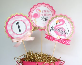 Flamingo Party Centerpiece Sticks Pink Birthday Table Decorations Tropical