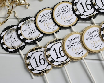 Sweet 16 Cupcake Toppers, 16th Birthday Black and Gold Cupcake Picks, Tropical Sophisticated Milestone Birthday Decor