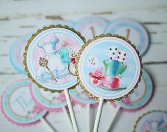 Alice in ONEderland Cupcake Toppers, Alice in Wonderland Birthday Party, Tea Party Birthday Cupcake Picks, Alice Birthday Decorations