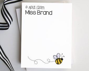 Teacher Notepad, Teacher Appreciation Gift,  Bumblebee Notepad, Notepad for Her, Personalized Notes, Bee Lover - Style: Bumblebee