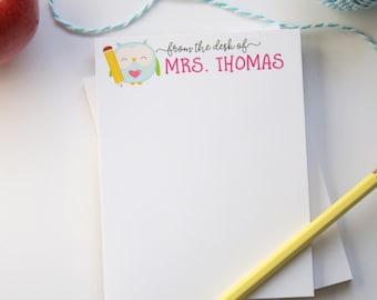 Teacher Notepad - Teacher Appreciation Gift - Teacher Holiday Gift - Owl Teacher Notepad - Style: Little Owl