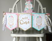 Wild One High Chair Banner - Boho Tribal Dreamcatchers Birthday High Chair Decoration - Tribal Feathers Birthday Party - Fully Assembled