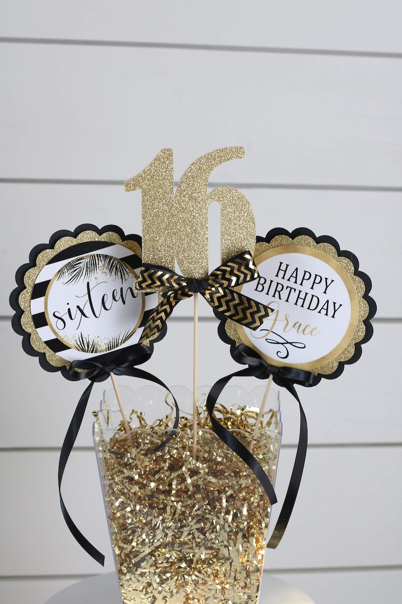 Sweet 16 Birthday Decor Centerpiece Sticks 16th Party Table Decorations Black And Gold Milestone
