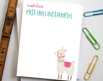 Gifts for Teachers, Personalized Teacher Notepad, Custom Teacher Gift, End of Year Teacher Gift, Back to School Gift - Style: Llama