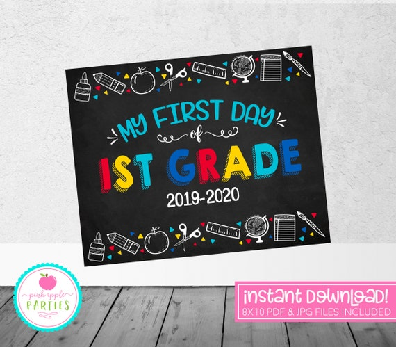 graphic regarding First Day of 1st Grade Printable Sign identified as Initially Working day of 1st Quality Chalkboard Indication - Very first Quality Indicator - Blue, Purple, Yellow, Turquoise - 8x10 Quick Down load Printable Indication