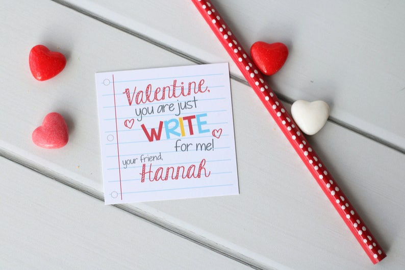 image relating to Pencil Valentine Printable called Prompt Obtain - Pencil Valentine, Printable Pencil Valentine, Noncandy Valentine, Publish Things Valentine Playing cards for Faculty