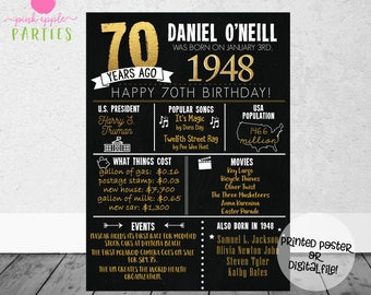 70th Birthday Chalkboard Poster - Back in 1948 - 70 Years Ago Poster - 70th Birthday Gift - Milestone Birthday - Printed Poster OR Printable