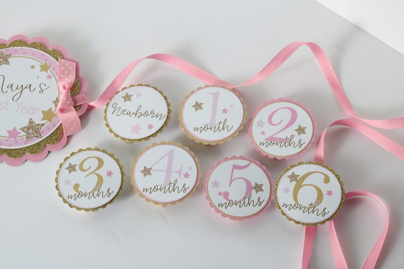 Twinkle Star Pink /& Gold Birthday Party Photo Banner 12 Month Photo Banner Twinkle Twinkle Little Star Birthday Photo Banner