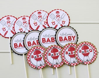BabyQ Baby Shower Cupcake Toppers - BBQ Couples Baby Shower - Red Gingham Cupcake Picks