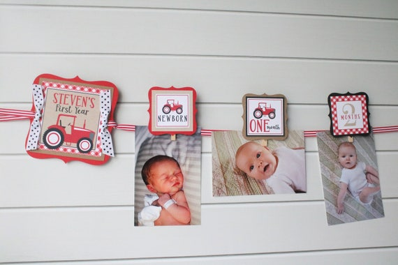 Red Tractor Birthday Photo Banner 12 Month Baby\'s First | Etsy
