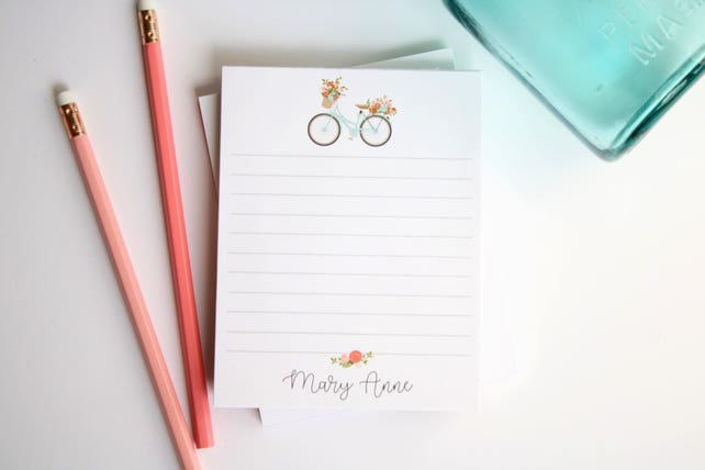 Personalized Notepad Gift, Personalized Stationery for Neighbor Mom Sister Girlfriend Teacher Sister-in-law, Style: Vintage Bicycle