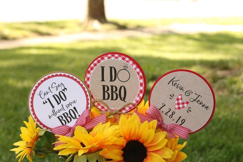 Co-Ed Wedding Shower Table Decorations BBQ Rehearsal Dinner Centerpiece Sticks I Do BBQ Bridal Shower Centerpiece Sticks