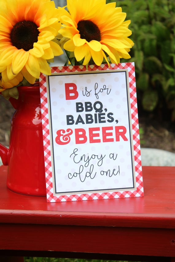 Baby-Q Baby Shower Signs BBQ Baby Shower 5x7 Signs Set of ...