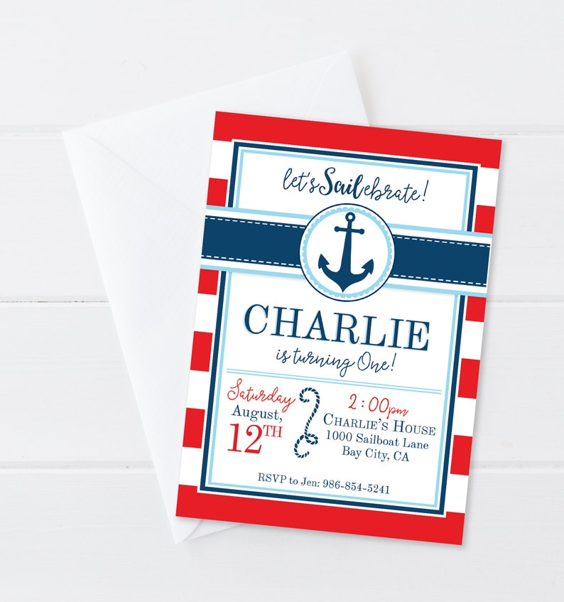 Nautical Boy Birthday Invitation Anchors