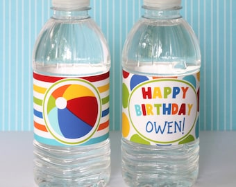 Beach Ball Water Bottle Labels - Pool Party Birthday - Boy First Birthday - Boy Second Birthday - Summer Birthday Water Bottle Wraps