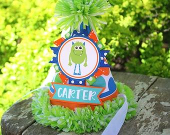 Monster Birthday Party Hat - Little Monster Birthday Hat - Boy Birthday - Monster Birthday Outfit