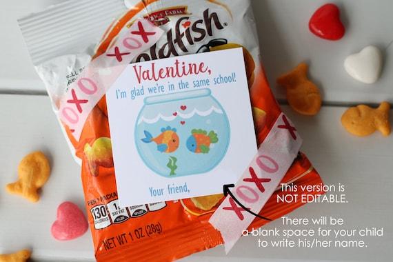 INSTANT DOWNLOAD  Goldfish Valentine Printable Fishing