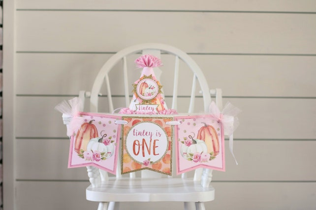 Pumpkin Pink Gold High Chair Banner Girl Watercolor Pumpkin