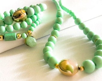 Spring Colors/Mint Green/Jewelry set/ Easter/Stack Bracelets/Matching Necklace