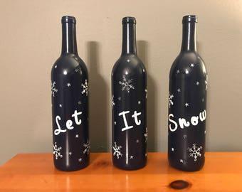 Let It Snow Decor de bouteille de vin