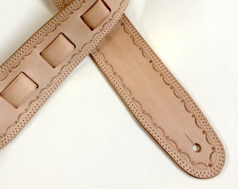 Leather guitar strap,  custom made with full grain genuine leather. Great fathers day gift.