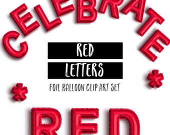 Red Foil Mylar Letter & Number Balloon ClipArt   Red Letters   Red Birthday Clipart   Party Clipart   Birthday Graphics Instant Download