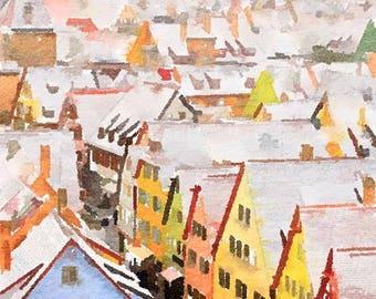 Rothenburg ob der Tauber Germany Original Watercolor Brush Illustration Painting