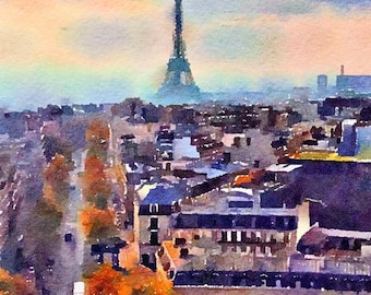 The Eiffel Tower Paris France Original Watercolor Brush Illustration Painting