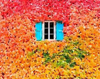 Autumn Blue Window Original Watercolor Brush Illustration Painting
